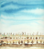 Watercolor landscape. Trees in winter time stock images