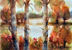 Watercolor landscape Royalty Free Stock Photography