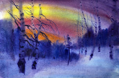 Watercolor landscape stock photo