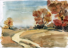 Watercolor landscape Royalty Free Stock Images