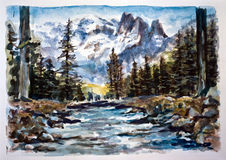 Watercolor landscape Royalty Free Stock Photo