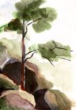 Watercolor landscape Stock Photos