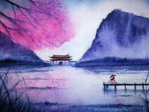 Watercolor landscape asian. traditional asia woman waiting someone in the lake and mountains