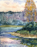 Watercolor landscape. Autumn evening on the lake Royalty Free Stock Images