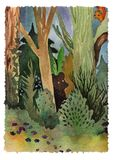 Watercolor landscape forest wood with animalls stock illustration