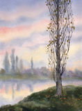 Watercolor landscape. Autumn poplar at quiet river Stock Photo