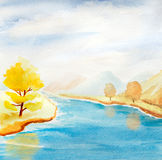 Watercolor landscape with autumn trees Stock Image