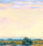 Watercolor landscape background. Morning mist over the lake vector illustration