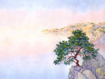 Watercolor landscape background. Pine on a cliff above the sea Royalty Free Stock Photos