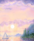 Watercolor landscape background. Sailboat at Sea quiet evening Stock Image