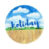 Watercolor landscape background. Sunny summer holyday. Watercolor landscape background. Sunny wheather holyday at summer Royalty Free Stock Photo