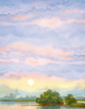 Watercolor landscape background. Sunrise over lake Stock Images