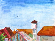 Watercolor landscape - Bali island roof view with water tank and flying kite royalty free illustration