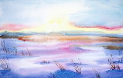 Watercolor landscape. Beautiful winter landscape in a clean field at sunset vector illustration