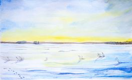 Watercolor landscape. Beautiful winter landscape in a clean field with traces of snow vector illustration