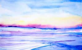 Watercolor landscape. beautiful winter sunset in a clean field royalty free illustration