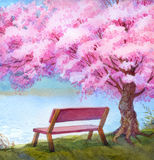 Watercolor landscape. Bench by river under flowering peach tree Stock Images