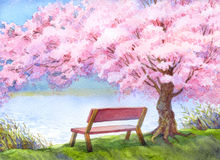 Watercolor landscape. Bench by river under flowering peach tree Stock Photo