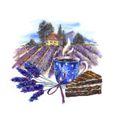 Watercolor landscape with blooming violet lavender Royalty Free Stock Photos