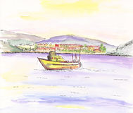 Watercolor landscape and boat Royalty Free Stock Image