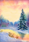 Watercolor landscape. Brook in winter forest Stock Photos