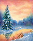 Watercolor landscape. Brook in winter forest Royalty Free Stock Photography