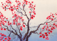 Watercolor landscape in Chinese style. Red flowers bloom on the Royalty Free Stock Images