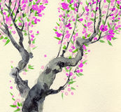 Watercolor landscape in Chinese style. Red flowers on tree. Watercolor landscape in Chinese style. Red flowers on old tree stock illustration