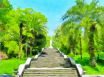 Watercolor landscape. Cityscape, stairs among trees. And palm trees. Digital painting - illustration. Watercolor drawing stock photos