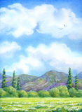 Watercolor landscape. Cloudy sky over valley blossoms Stock Photos