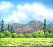 Watercolor landscape. Cloudy sky over valley blossoms Stock Photography