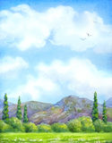 Watercolor landscape. Cloudy sky over valley blossoms Royalty Free Stock Image