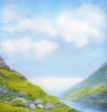 Watercolor landscape. Cloudy summer day in mountains near lake Royalty Free Stock Images