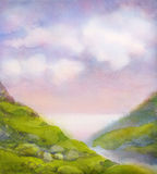 Watercolor landscape. Cloudy summer day in mountains near lake Stock Image