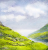 Watercolor landscape. Cloudy summer day in mountains near lake royalty free illustration