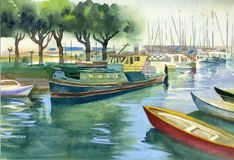 Watercolor Landscape Collection: Boats. Watercolor Royalty Free Stock Image