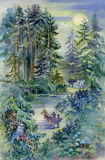 Watercolor Landscape Collection: Night Forest Royalty Free Stock Photo