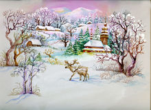 Watercolor Landscape Collection: Winter Village Li. Beautiful winter landscape, a village with deer Royalty Free Stock Photos