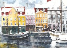 Watercolor landscape Denmark Copenhagen urban scape greeting card illustration. Watercolor landscape Copenhagen urban scape greeting card illustration Royalty Free Stock Photos