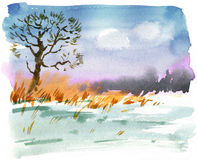 Watercolor landscape Stock Photography