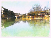 Watercolor Landscape of Fenghuang Ancient Town at day Royalty Free Stock Photo