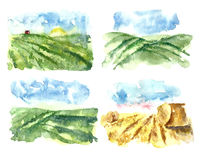 Watercolor landscape with fields and farms. Set of simple watercolor landscape with fields and farms. Hand drawn organic farms.Vector Stock Image