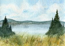 Watercolor landscape with fir trees. Hills and lake Stock Image