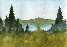 Watercolor landscape with fir trees. Hills and lake Royalty Free Stock Photography