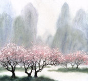 Watercolor landscape. Flowering trees near the river Stock Image