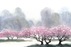 Watercolor landscape. Flowering trees near the river stock images