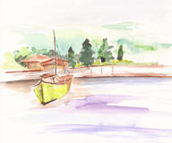 watercolor landscape with forest, sea, lake and boat. Royalty Free Stock Photography