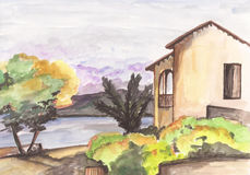 watercolor landscape with forest, sea, lake and house Stock Photography
