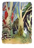 Watercolor landscape forest wood with animalls. Watercolor landscape. In the autumn forest royalty free illustration