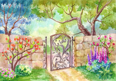 Watercolor landscape, The gate to the garden. A sunny day, a gar. Den with flowers, a flower garden. Fruit trees. Painting, painting or illustration, suitable vector illustration